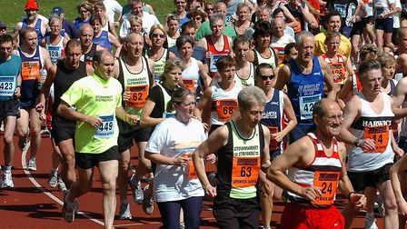 Runners starting out at the annual Ipswich JAFFA 5, 10 and 15-mile races, held from the Northgate St
