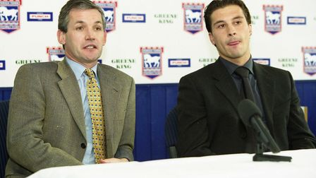 Martijn Reuser pictured with manager George Burley during his signing press conference in March 2000