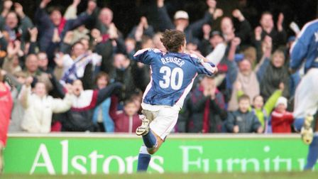 Martijn Reuser celebrates scoring on his debut in the 1-0 win over Fulham in March 2000