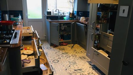 A ransacked kitchen after a 'game' Picture: Charlotte Smith-Jarvis