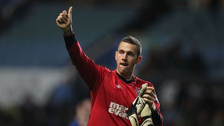 Scott Loach gives the thumbs up to Ipswich Town fans. Photo: Archant