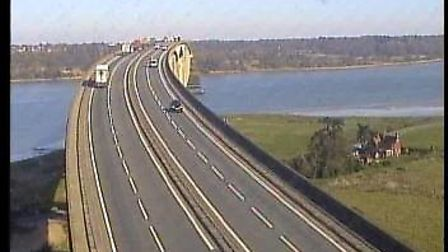 The Orwell Bridge is usually busy with cars and lorries throughout the day, but not during the lockd