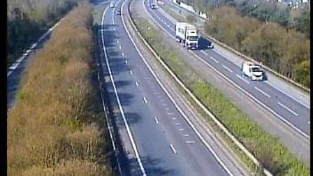 The A14 at Claydon had just a couple of vehicles on the road. Picture: TRAFFIC CAMERAS UK
