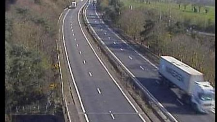 The A14 which leads to the Seven Hills roundabout outside Ipswich had just one lorry on the road. Pi