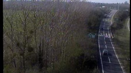 The slip road which connects the A14 to the A12 at Copdock Interchange. Picture: TRAFFIC CAMERAS UK