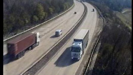 The A14 at Whitehouse, Ipswich, had a few lorries on the road this afternoon. Picture: TRAFFIC CAMER