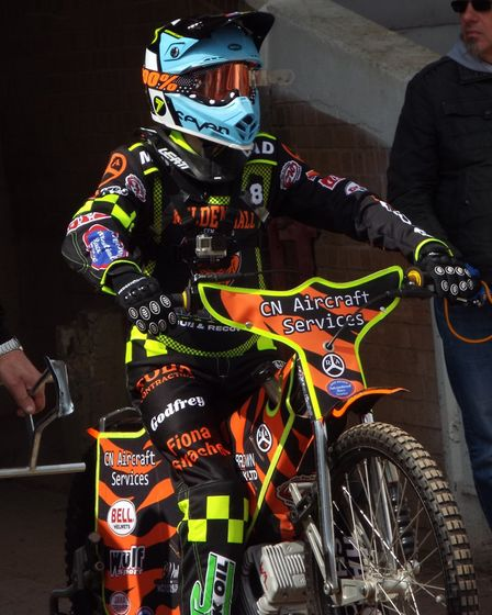 Suffolk speedway star Sam Norris in action after battling his way back to health following a serious