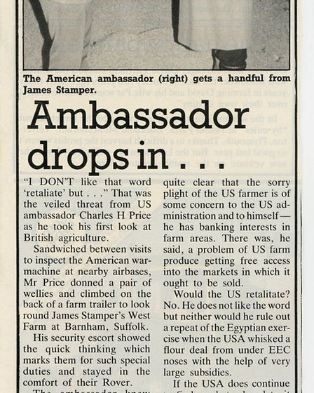 Newspaper clipping from the US ambassador's visit