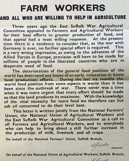 An NFU appeal for farm workers in the aftermath of World War II