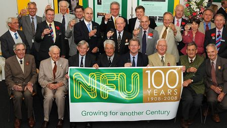 Past and present county officeholders at the National Farmers' Union (NFU) Suffolk branch with then