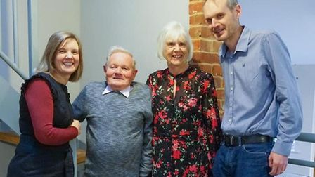 Pat Bewley with daughter Helen Brown, wife Beryl, and son Paul Picture: TONY PICK