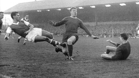 Ray Crawford scoring against Chelsea in 1961. Ray scored a hat trick in this game and Ipswich were o