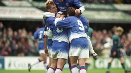 Town players celebrate a goal during their 4-0 win over Oldham, on April 5, 1997. James Scowcroft, l