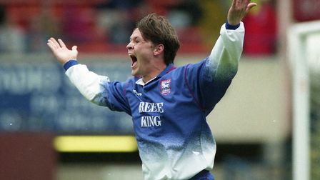 A delighted Neil Gregory celebrates bagging Town's fourth goal in a 4-0 win over Odham, 23 years ago