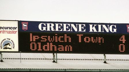 The Portman Road scoreboard says it all; Ipswich Town 4 Oldham Athletic 0, from April 5, 1997