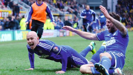 Richard Chaplow celebrates scoring the late winner at Watford. Oliver Sullivan may have been late to
