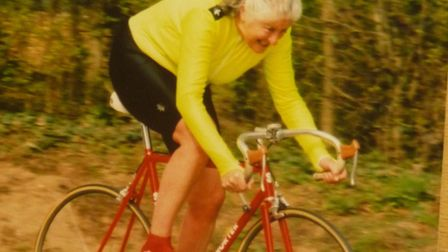 Mary Horsnell (Chelmer CC) racing in 2002, was one of the first women locally to compete against men