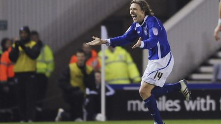 Jimmy Bullard celebrates scoring on his Ipswich Town debut against Derby in February 2011. Photo: Ac