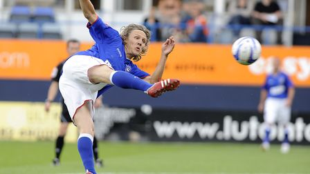 Jimmy Bullard connects with a volley against Luton. Photo: Pagepix