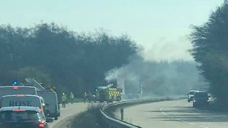 A fire has closed the A120 in both directions near Colchester. Picture: TONY MURRAY