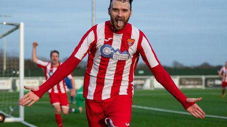 Ollie Canfer celebrates a 95th minute winner for Felixstowe & Walton, at Grays Athletic. The Seaside