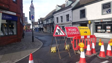 Roadworks are continuing through the coronavirus pandemic, but workers are adhering to social distan