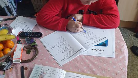 Samantha and Alex Bland working from their home in Ipswich. Picture: REBECCA BLAND