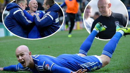 Richard Chaplow celebrates his stunning winner at Watford five years ago. Picture: PAGEPIX