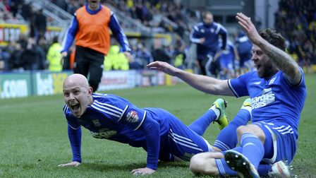 Richard Chaplow launches himself into a celebration after scoring the late winner at Watford. Pictur
