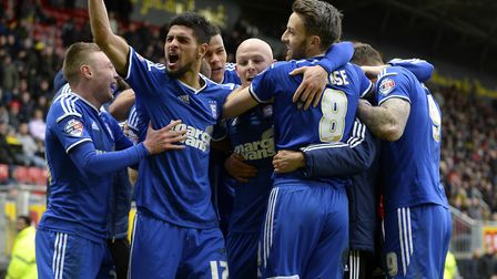 Richard Chaplow celebrates scoring the late winner at Watford with his Ipswich team mates. Picture: