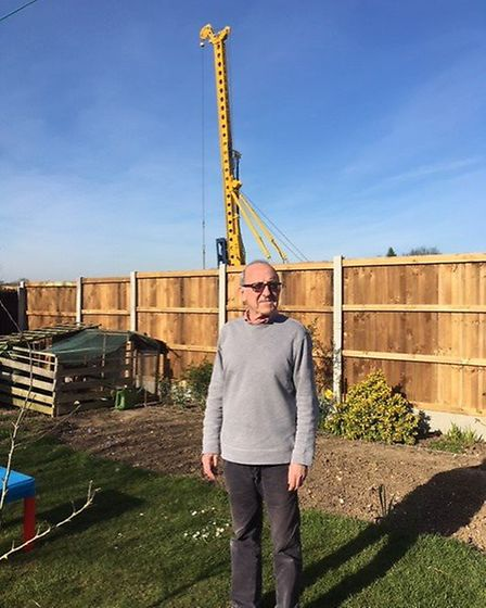 Tony Foster in the back garden of his home in Chilton, near Sudbury, where residents say their lives