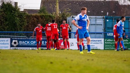 Leiston players are left disappointed as they concede a third goal during their 4-0 home defeat to K