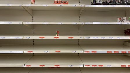 Supermarket shelves across Suffolk have been left bare by people stockpiling in reponse to coronavir