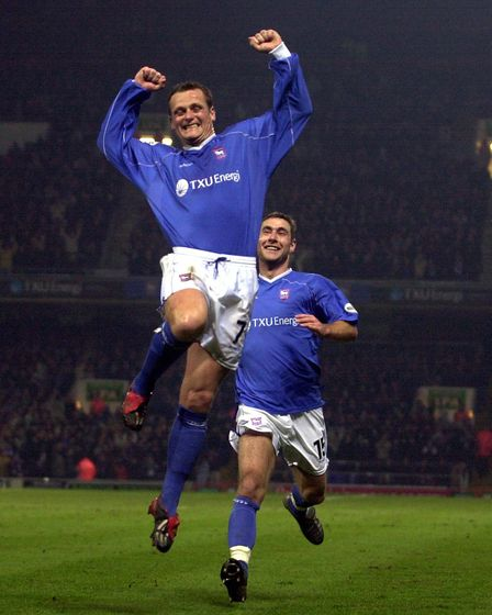 Jim Magilton leaps in the air after scoring against Reading in 2003.