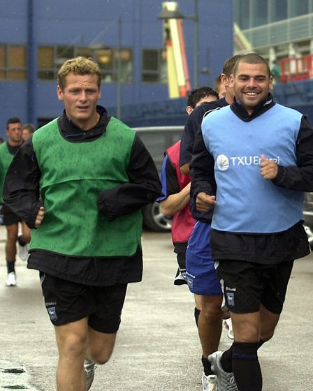 .Jim Magilton and Jermaine Wright go for a run as the Ipswich Town squad get back to training in Jul
