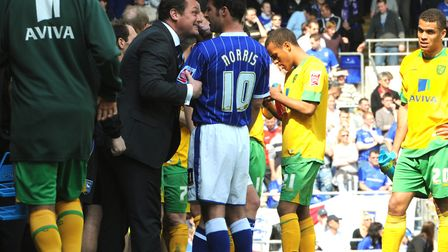 Jim Magilton gets his point across to David Norris during a derby day in 2009. Picture: ANDY ABBOTT