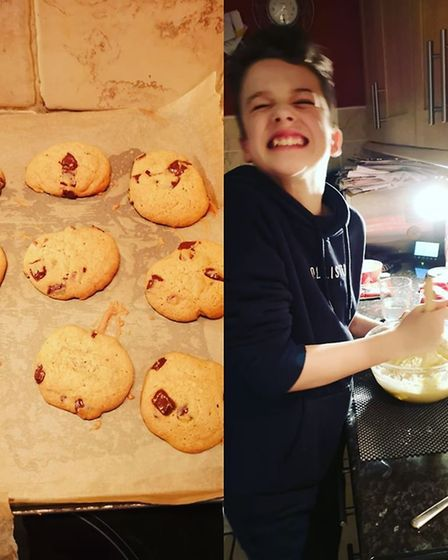 Harry, 13, made chocolate chip cookies for his food technology class for all the family to enjoy. Pi
