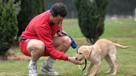 Roy Keane with Ipswich Star guide dog Faith back in 2010