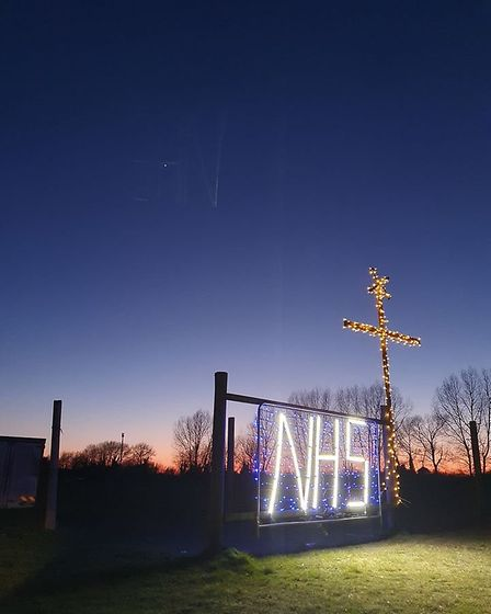 The NHS sign at Beck Row to show support during the coronavirus pandemic. Picture: NIGEL WARIN