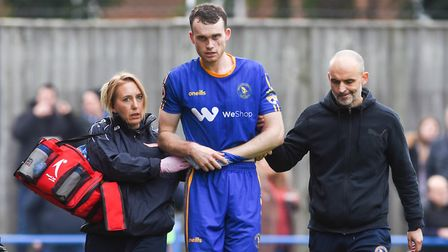 Chris Smith, pictured after suffering a dislocated shoulder playing for King's Lynn Town. Photo: Ian