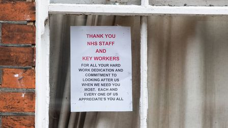 Houses in the road have been displaying thank you messages to NHS staff and key workers during the c