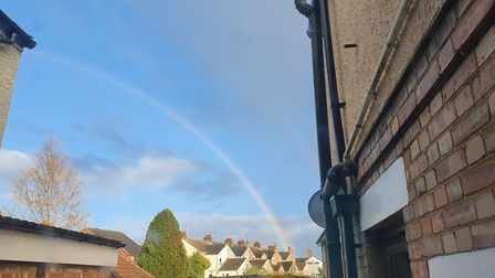 A rainbow over Ipswich on Monday night Picture: CHLOE FIDDY