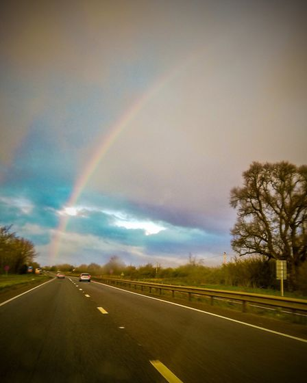 A rainbow over the A12 at Kelvedon Picture: GARY JARVIS