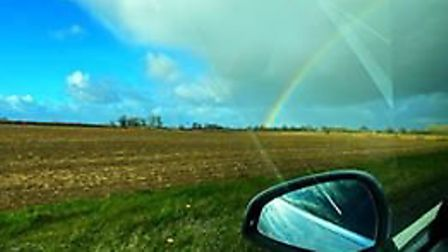 A rainbow over the A143 coming out of Stanton, near Bury St Edmunds. Picture: CARA BISLAND-COOK