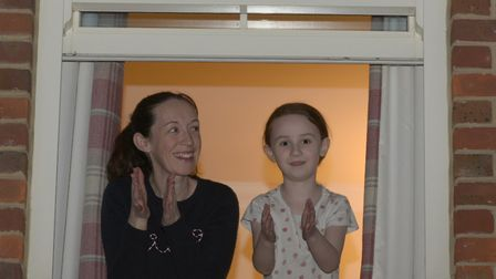 Naomi and Maria Gornall clapping for the NHS Picture: SARAH LUCY BROWN