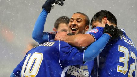 .Jason Scotland celebrating scoring Ipswich's second goal against Leicester back in 2010