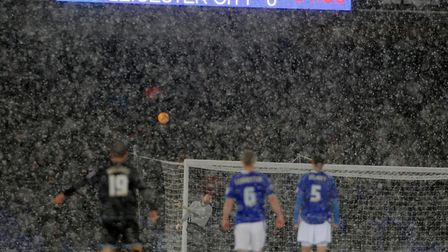 Town beat Leicester City 3-0 at Portman Road in the snow in December 2010