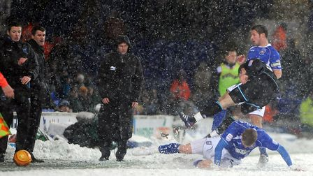 Connor Wickham in action during the snow covered game against Leicester City at Portman Road in Dece