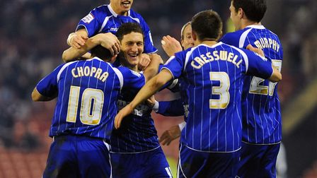 Keith Andrews celebrates his second goal at Oakwell as Town scored five second half goals in their 5