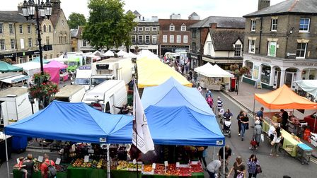 The market on the Cornhill and Buttermarket in Bury St Edmunds . Picture: ANDY ABBOTT